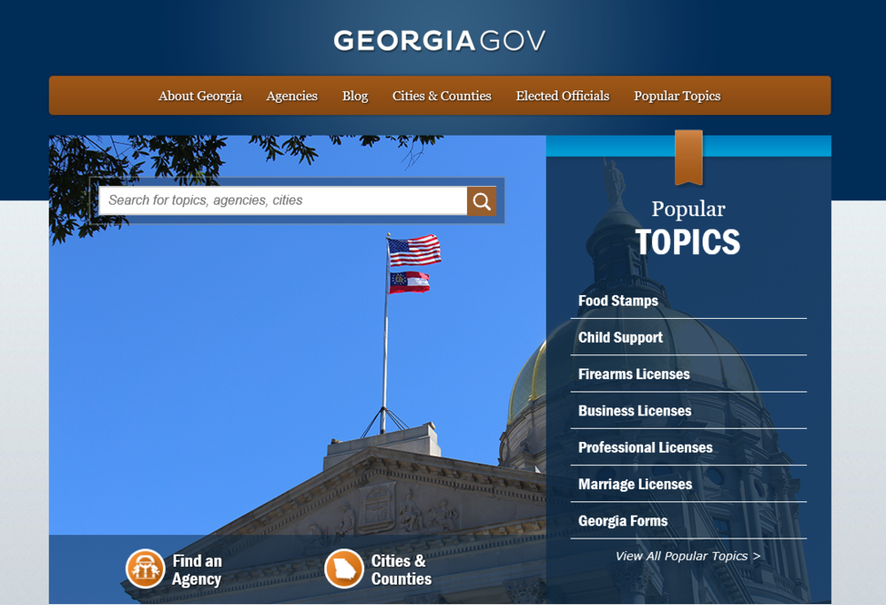 Image of the Georgia.gov homepage.